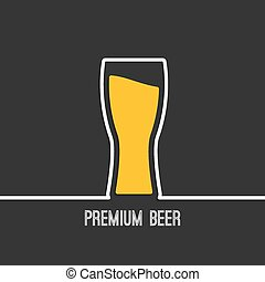 Abstract background with Beer glass with yellow liquid. Logo for restarana, pub menu, cafe