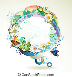 Abstract background with butterflies, flowers, rainbow and drops of water