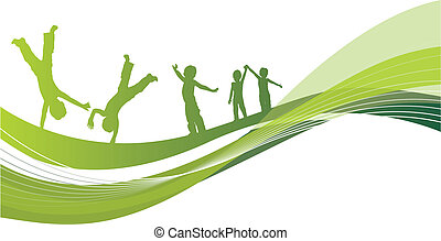 abstract background with children playing