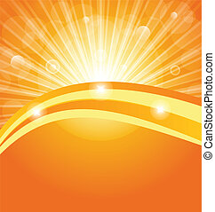 Illustration abstract background with sun light rays - vector
