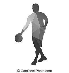 Abstract basketball player. Dribble with ball