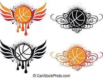 basketball with fire wing and ornament, vector