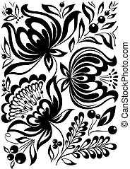 abstract black and white flowers. Stylish retro ornament. design element