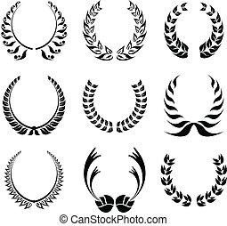Laurel wreath symbol set