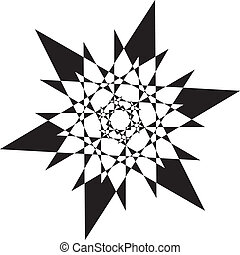 Abstract black stellar arabesque on transparency background element