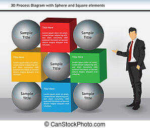 Abstract Business Presentation Template with Sphere and Square elements