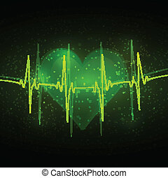 Abstract cardiogram in shades of green on a background of abstract hearts and reflections
