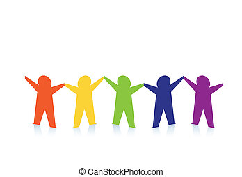 Diverse row of paper people holding hands. Vector