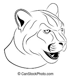 Abstract Cougar in the form of a tattoo