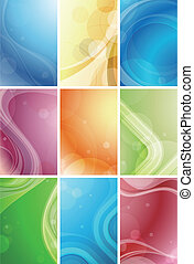 Illustration of abstract curve backgrounds set.