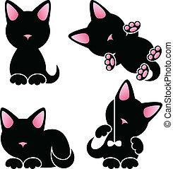 Abstract cute kitten vector set