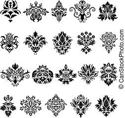Abstract damask emblem set for design use