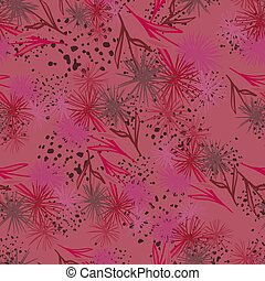 Abstract dandelion shapes seamless pattern. Random green and red dark flowers on maroon background with splashes.