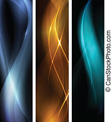 Vertical banner set, proportions 600x160. Wavy patterns on dark background with light effects. EPS10