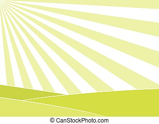 Abstract field and sun rays background