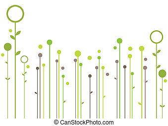 simple garden, modern floral background, vector