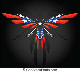 Abstract flying Bald Eagle American flag