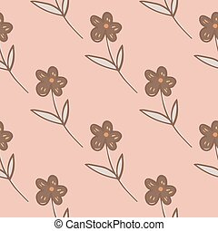 Abstract geometric flowers seamless pattern on pink background. Simple floral wallpaper in doodle style.