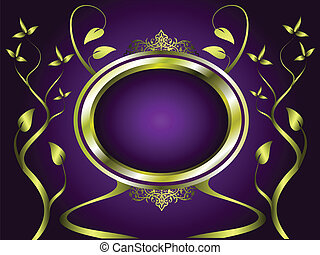 Abstract Gold and Purple Floral Vector Design