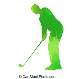 Abstract green golf player