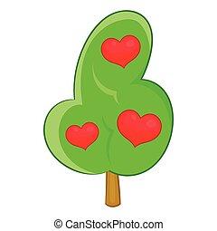 Abstract heart tree icon, cartoon style