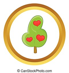 Abstract heart tree vector icon
