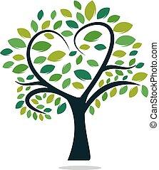 Abstract heart tree vector logo design.