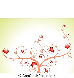abstract heart tree with florals