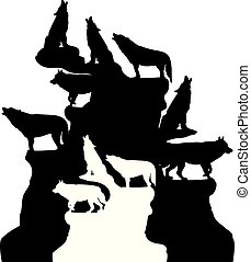 Abstract illustration, A herd of wolves howling at the moon, on top of a mountain, silhouette on a white background,