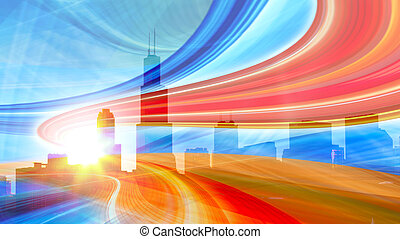 Abstract Illustration of an urban highway going to the modern city downtown, speed motion with colorful light trails.