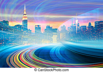 Abstract Illustration of an urban highway going to the modern city downtown, speed motion with colorful light trails. Image of New York City skyline is from my collection.