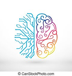 Abstract lines left and right brain functions concept, analytical vs creativity