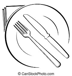 Abstract logo of a cafe or restaurant. A spoon and fork on a plate. A simple out line.