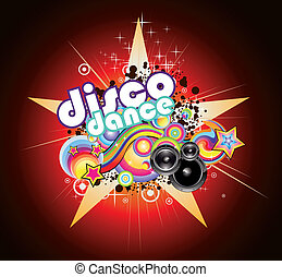Abstract Magic Colorful Disco Music Background