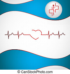 Abstract medical cardiology ekg illustration red blue background