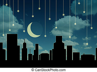 abstract night cityscape