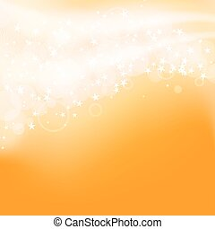 abstract orange background with flying stars. vector
