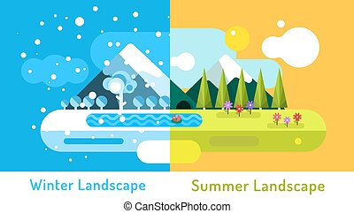 Abstract outdoor summer and winter landscape. Trees nature signs, mountains, river or lake, sun clouds, flowers, cave, snow ice, cold. Design elements