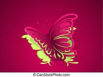 Paper Cut Out Butterfly Background