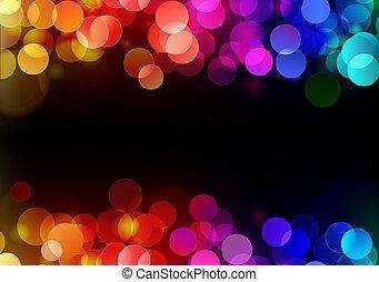 illustration of blurred neon disco light dots pattern on dark background
