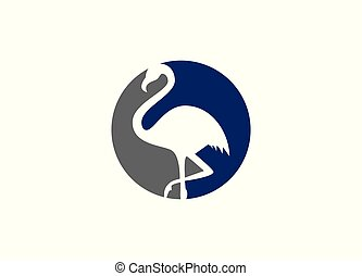 Abstract pelican logo two colors with round shape,
