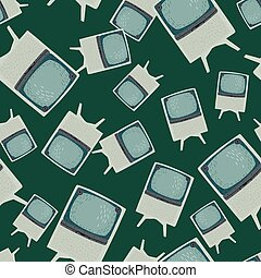Abstract random media seamless pattern with blue and grey colored tv ornament. Dark background.