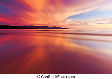 Abstract reflection of colorful sunset for background