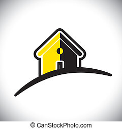abstract residential house(home) icon(symbol)- vector graphic. This illustration can also represent construction industry, realty business of buying & selling property, etc