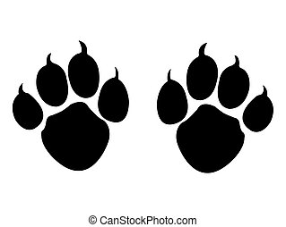 Abstract Retro Animal Paws Vector Silhouette