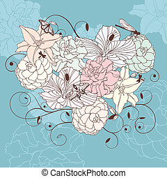 abstract romantic lovely floral heart vector illustration