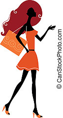 Abstract shopping woman silhouette isolated on white