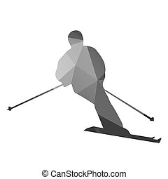 Abstract skier. Geometrical vector silhouette