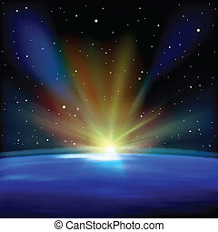 abstract space background with earth and sunrise