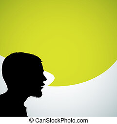 Abstract speaker silhouette with big green bubble - place for your content
